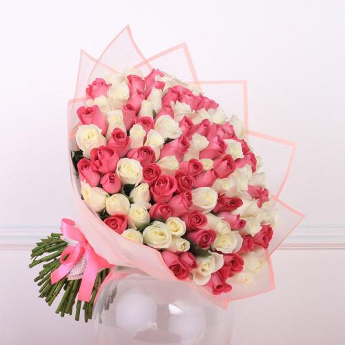 Букет Из 101 Розовых и Белых роз