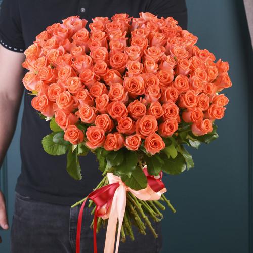 101 Мандариновая Роза(розы Premium 60см)