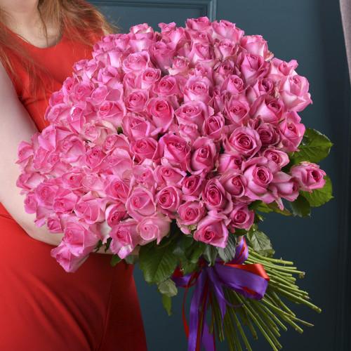 Букет из 101 Розовой розы (Premium 50см)