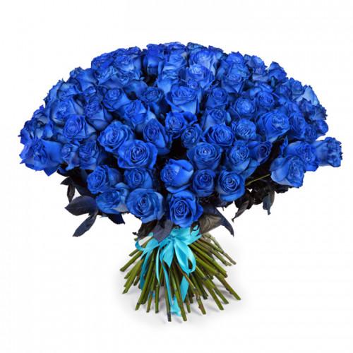 Букет из 101 синей розы Эквадор (Premium 60см)