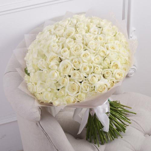 Букет из 101 белой розы (Premium 50см)