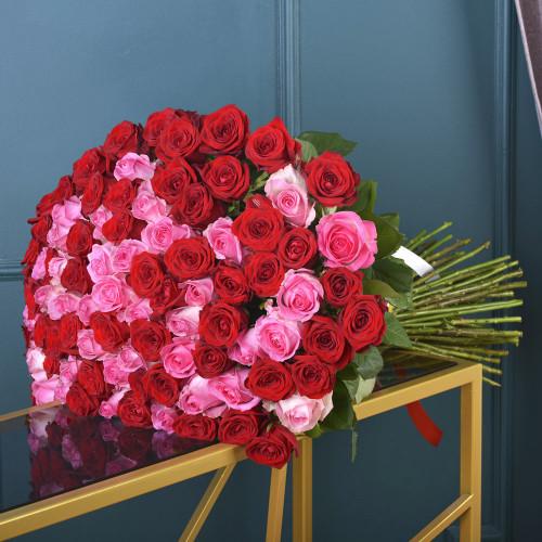 """101 роза букет """"Ягодный микс"""" (розы Premium 60см)"""