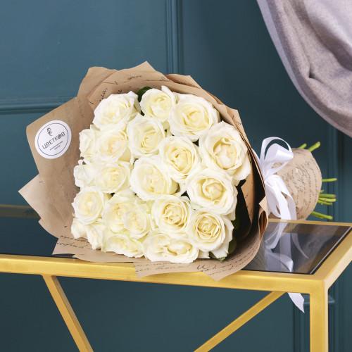 19 Белых роз (Роза Premium 50см)