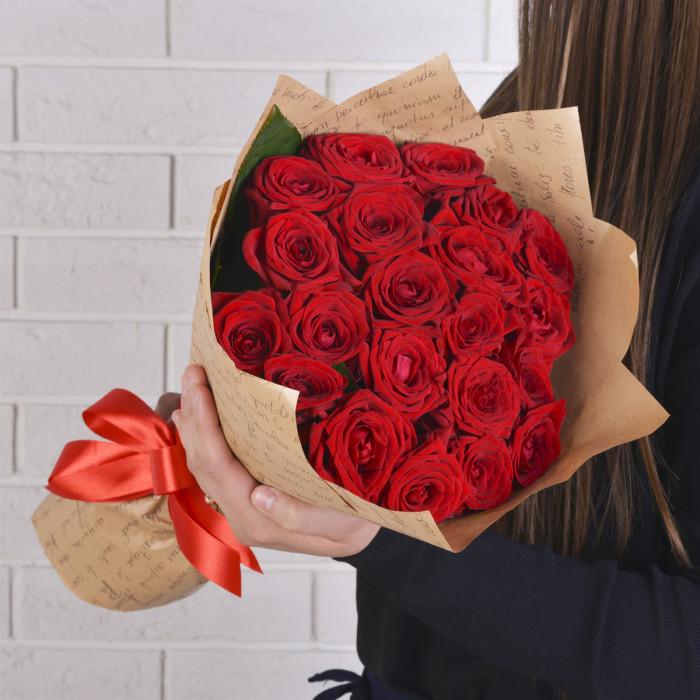 21 красная (Роза Premium 40см)