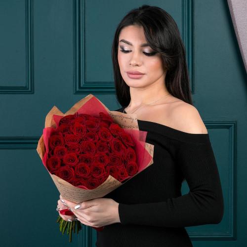 35 красных роз (Роза Premium 40см)