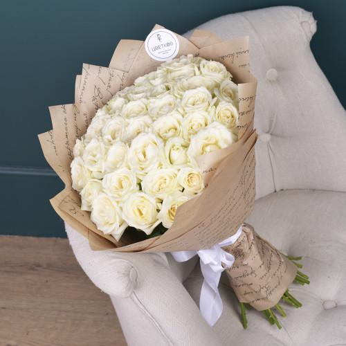 35 Белых роз (Роза Premium 40см)
