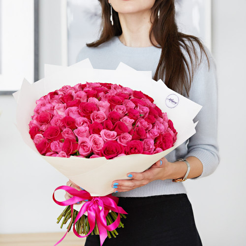 """Букет из 101 розы """"Ягодный микс"""""""