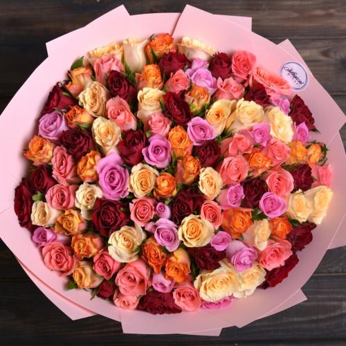 Букет из 101 розы микс