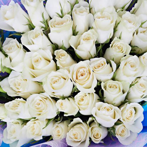 """51 белая роза в стиле """"Magical"""""""