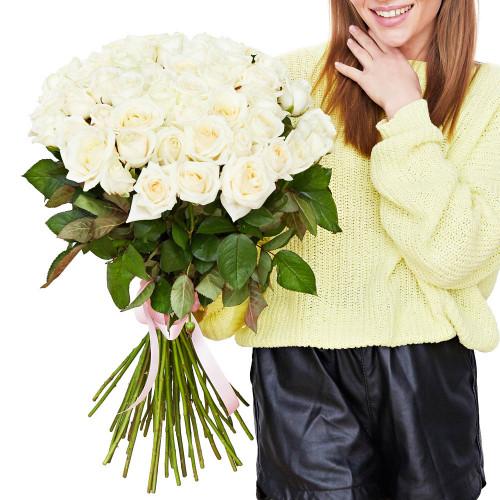 Букет из 51 белой розы (Premium 60см)