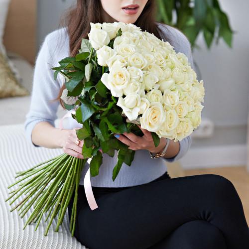 Букет из 51 белой розы Эквадор (Premium 60см)