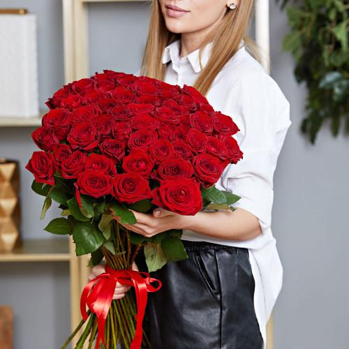 Букет из 51 красной розы Эквадор (Premium 60см)