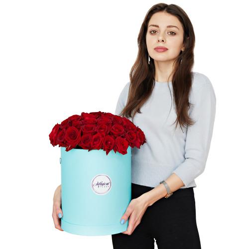 Шляпная коробка с букетом из 51 розы (Premium)