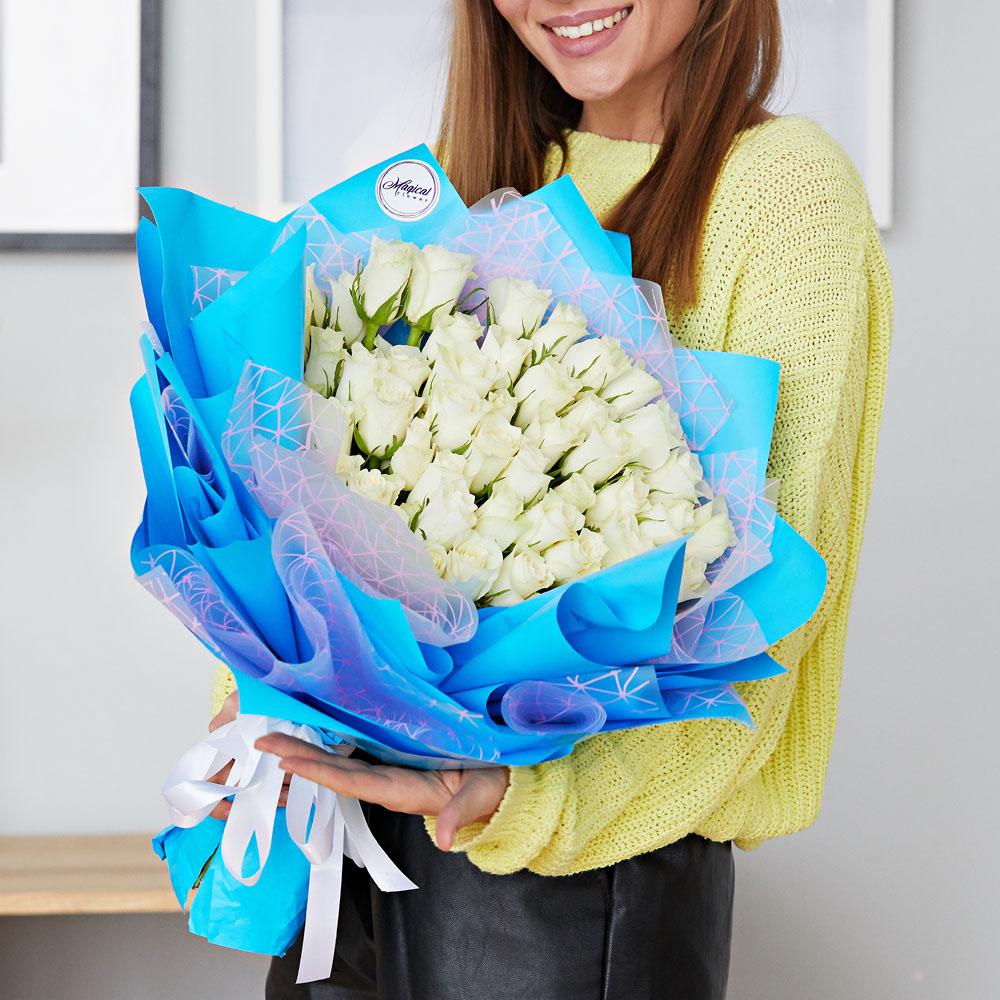 51 белая роза доставка цветов москва дешево, юбилей
